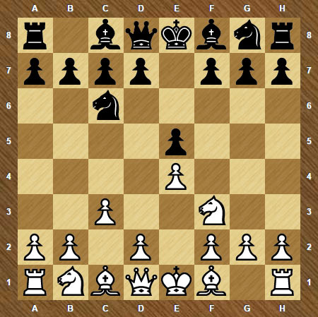 Дебют Понциани начинается ходами 1. e2-e4 e7-e5 2. Kg1-f3 Kb8-c6 3. c2-c3