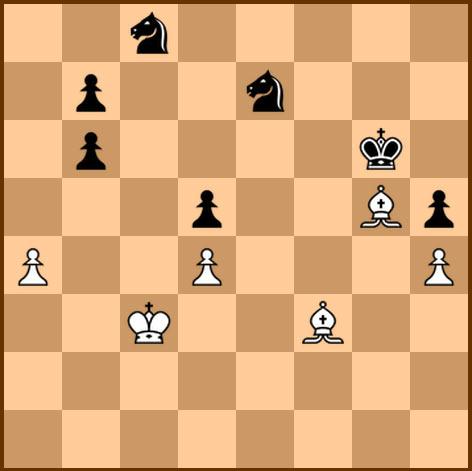 Концовка партии Ботвинник - Бронштейн. Два слона против двух коней. Чёрные вынуждены были сдаться