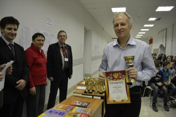 Вадим Сахаров во время награждения участников Рождественского Шахматного Фестиваля
