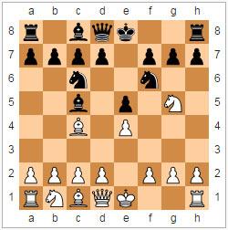Контратака Тракслера: 1. e4 e5 2. Nf3 Nc6 3. Bc4 Nf6 4. Ng5 Bc5