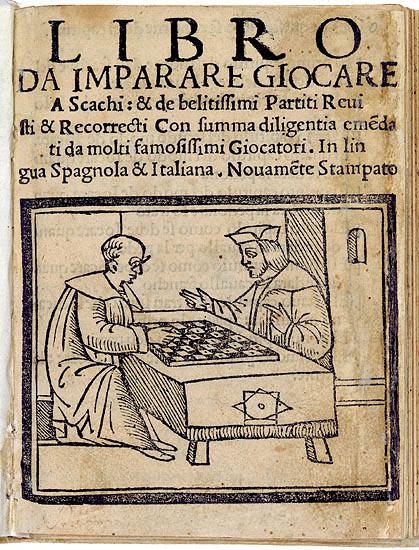 Титульный лист книги Домиано (1512 год): священник и монах играют в шахматы