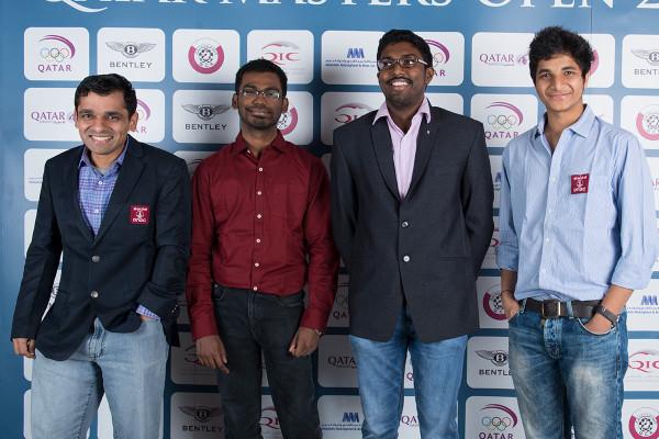 Шахматисты из Индии (слева на право): Сасикиран Кришнан, Панаяппан Сетхураман, Адхибан Башкаран и Видит Сантош Гуджрати