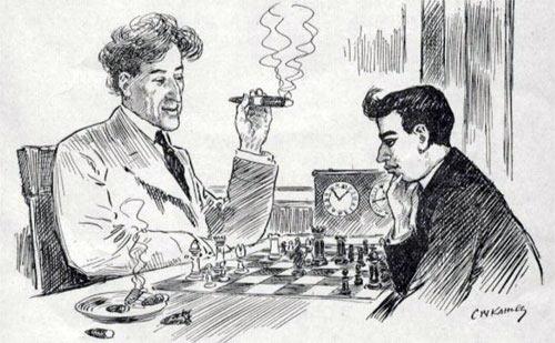 Карикатура, посвященная матчу Маршалл - Капабланка (1909 год)