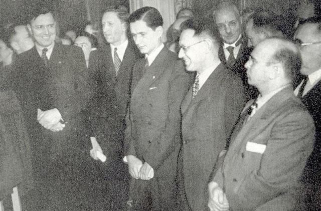 Участники чемпионата мира по шахматам 1948 года: Макс Эйве (Голландия), Василий Смыслов (СССР), Пауль Керес (СССР), Михаил Ботвинник (СССР), Самуэль Решевский (США)