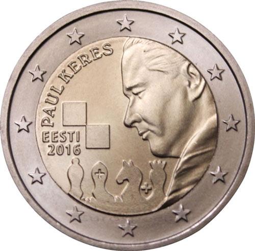 Монета номиналом в 2 Евро выпущенная в честь 100-летия со дня рождения Пауля Кереса (2016 год)