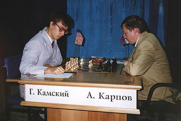 Гата Камский (США) и Анатолий Карпов (Россия). Фотография сделана во время матча Карпов-Каспаров (Элиста, 1996)
