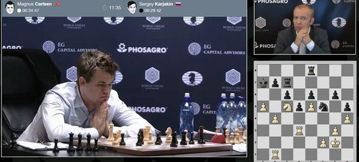 Позиция у Карлсена лучше (+0.71), но как пробивать оборону Карякина?