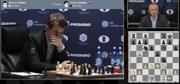 10 партия Карлсен - Карякин. Магнус задумался над 13 ходом на 27 минут