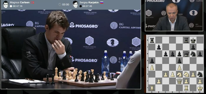 Похоже Магнус понял, что на 19 ходу Bxe6, он допустил неточность