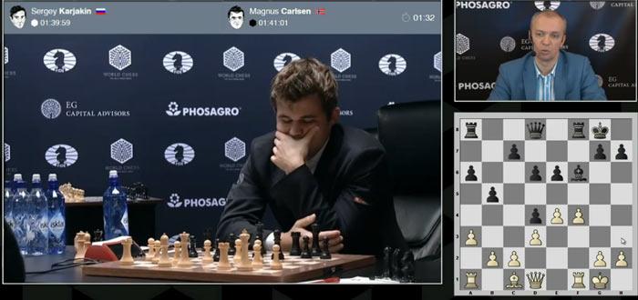 14.f4 и Магнус впервые немного призадумался в 11-ой партии