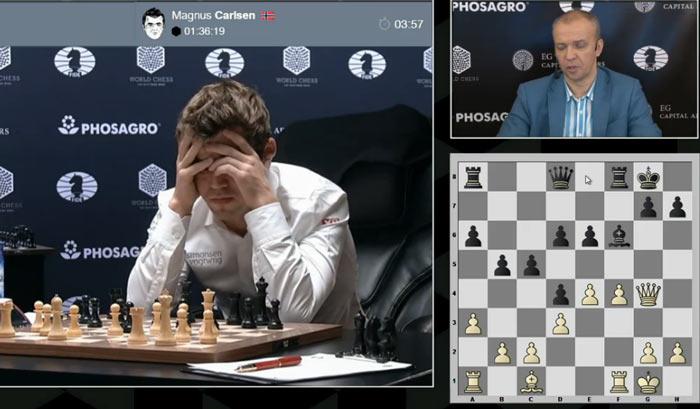 Карлсен снял пиджак и размышляет, что делать с пешкой e6