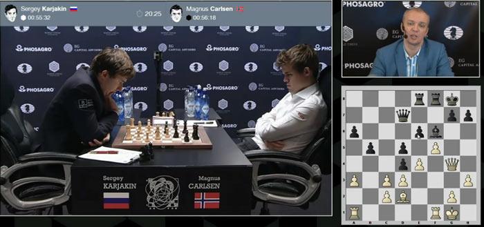 Над 20 ходом Карякин думает уже больше 20 минут. Компьютер предлагает ход 20.c4, который вполне может привести к жесткой борьбе