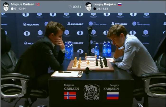 На шахматном поле явно становиться жарка, по этой причине Карякин решил снять пиджак