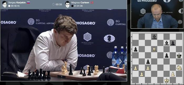 Позиция тяжелая для белых. Сергей обдумывает 41 ход, благо пройден первый контроль времени и добавилось 50 минут