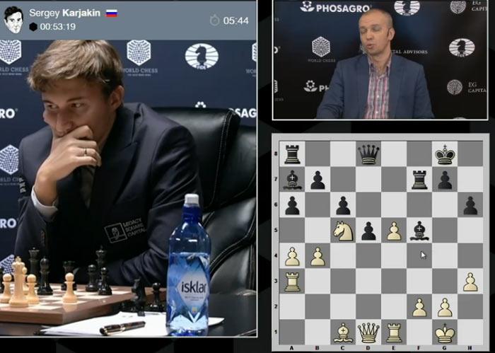 Карякин обдумывает 19 ход. При 19... Qh4 у чёрных все отлично (-0,35)