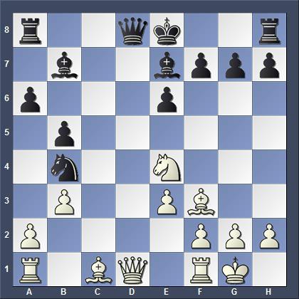 Черным следовало ходить 15... f5, вместо этого Карлсен сделал короткую рокировку