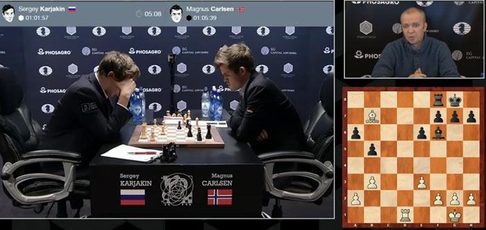 На шахматной доске стало жарко. У Карякина перевес в пол пешки, но удастся ли реализовать это преимущество при разноцветных слонах?