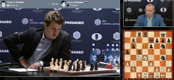 Равная позиция позиция после 18 хода в 8 партии Карлсен - Карякни