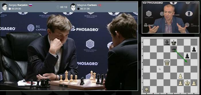 Результат 9 партии Карслен - Карякин - ничья