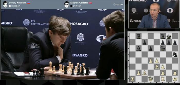 От начала 9-ой партии Карякин - Карлсен прошло всего 14 минут, а белые уже успели сделать 18 ходов