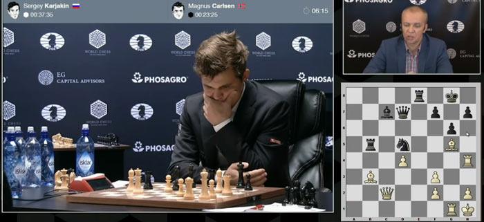 Магнус задумался над 33 ходом в 9 партии матча Карлсен - Карякин 2016