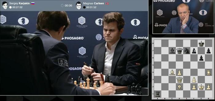 В цейтноте Карлсен сделал не лучший ход 38... Ne7 (+1.15)