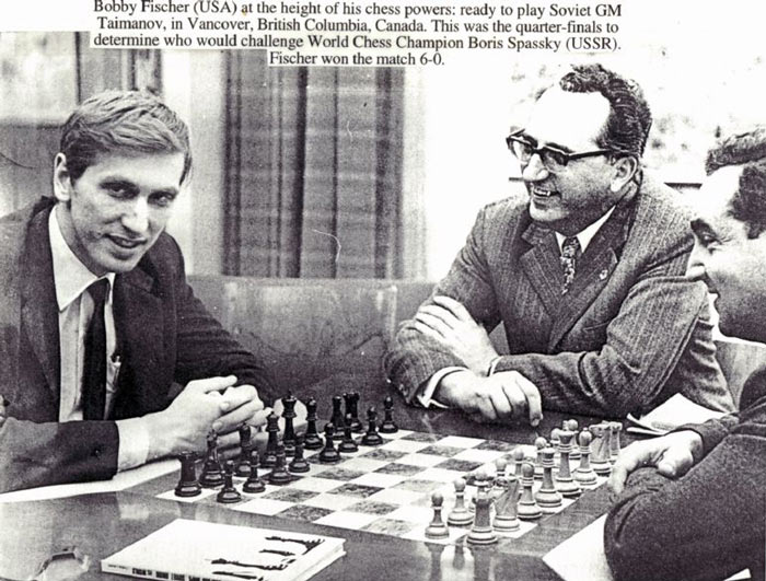 Газетная вырезка, в которой рассказано о победе американца над советским шахматистом