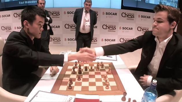 Дин Лижэнь (Китай) и Магнус Карлсен (Норвегия)
