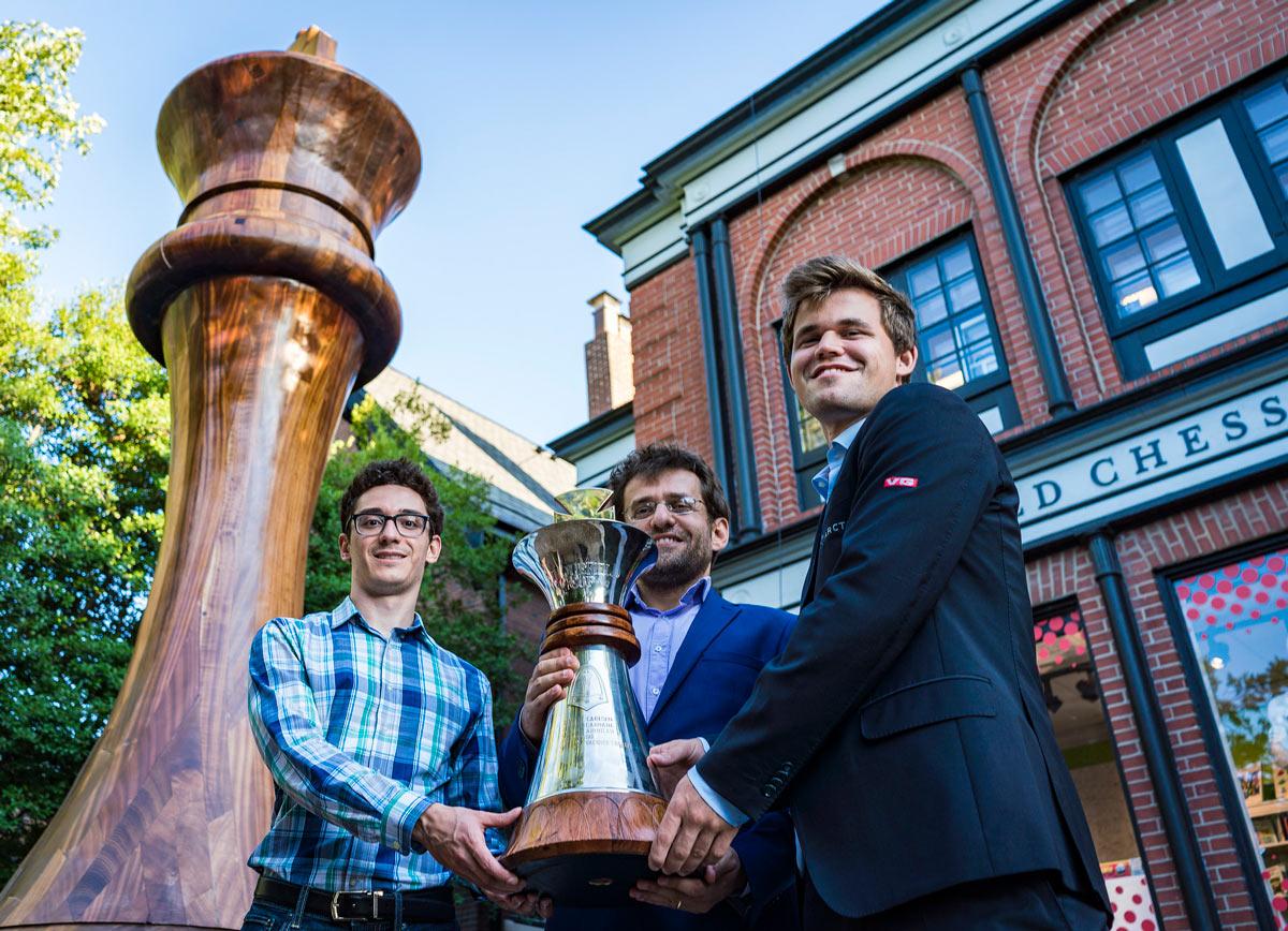 Победители Кубка Синкфилда 2018 (слева направо): Фабиано Каруана, Левон Аронян и Магнус Карлсен