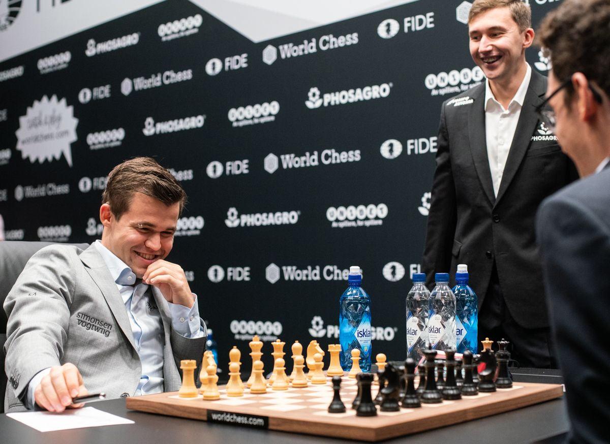 Сергей Карякин сходил 1.b4, чем явно повеселил чемпиона мира