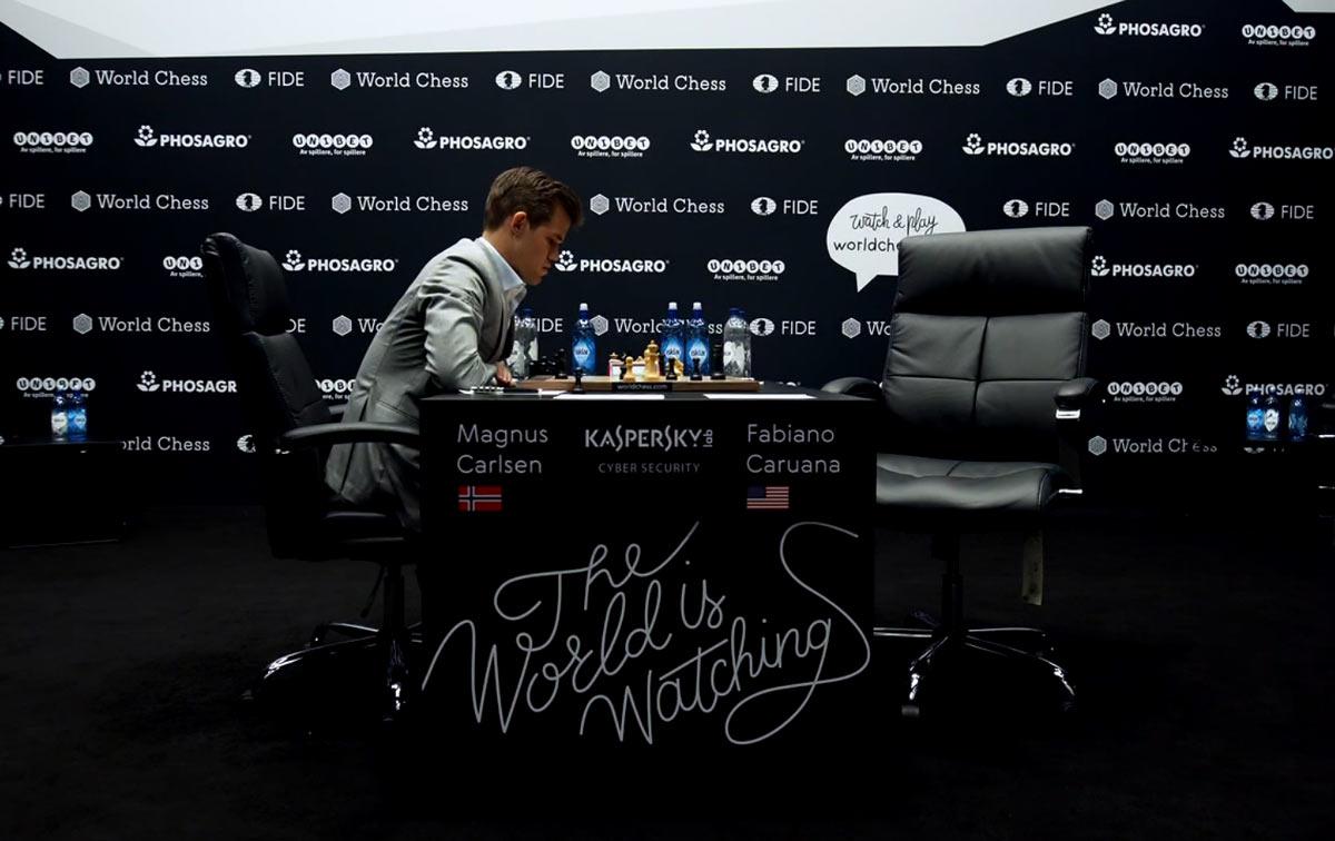Матч Карлсен - Каруана 2018 по шахматам. Партия 6