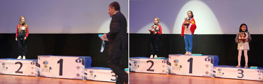 Награждение призеров чемпионата мира по шахматам среди кадетов 2018. Сантьяго-де-Компостела (Испания)