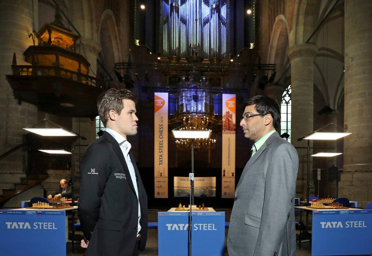 Магнус Карлсен и Вишванатан Ананд. Tata Steel Masters 2019