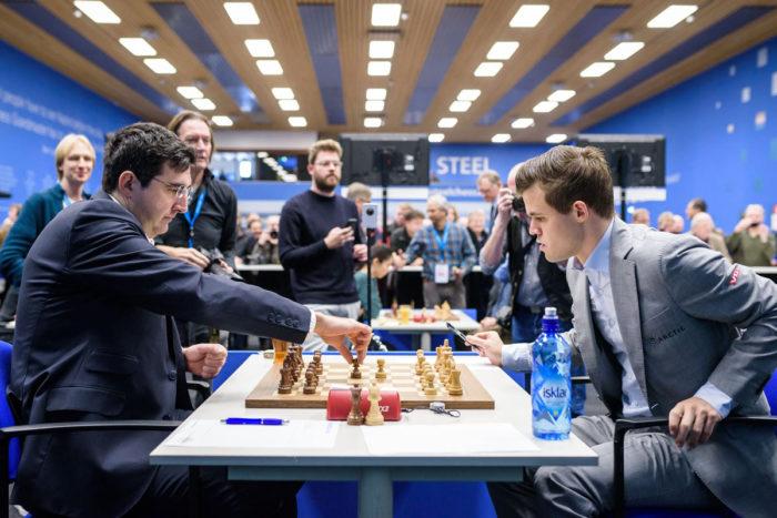 Владимир Крамник и Магнус Карлсен (Magnus Carlsen). Tata Steel Chess 2019