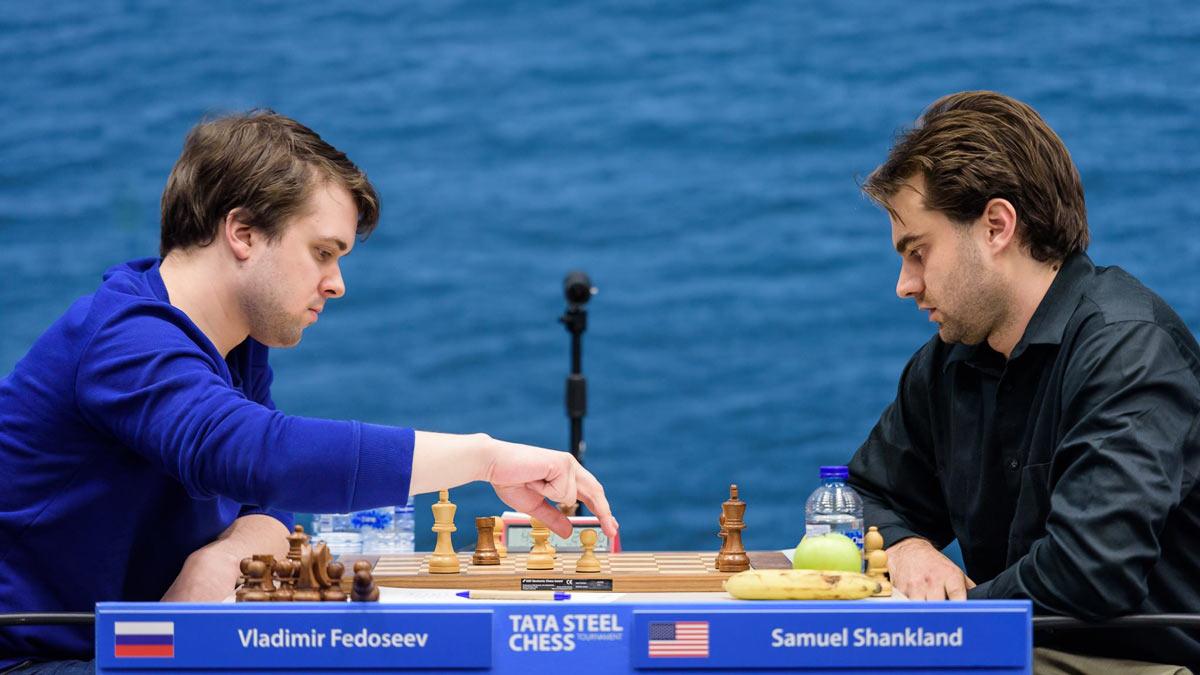 Владимир Федосеев и Сэмюэль Шенкленд (Samuel Shankland). Tata Steel Chess 2019 (Вейк-ан-Зее)