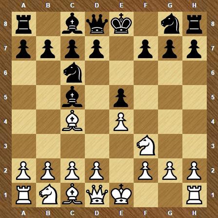 Итальянская партия начинается ходами 1. e2-e4 e7-e5 2. Kg1-f3 Kb8-c6 3. Cf1-c4 Cf8-c5.