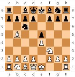 Испанская партия начинается ходами 1. e4 e5 2. Kf3 Kc6 3. Cb5