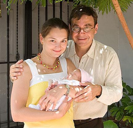 Александра Костенюк с первым мужем и новорожденной дочерью