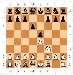 Защита Филидора. Начальные ходы: 1. e4 e5 2. Kf3 d6