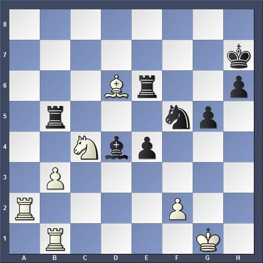 Крамник заскучал не случайно, так возникла позиция изображенная на диаграмме. Компьютер показывает, что чёрные имеют перевес в две пешки