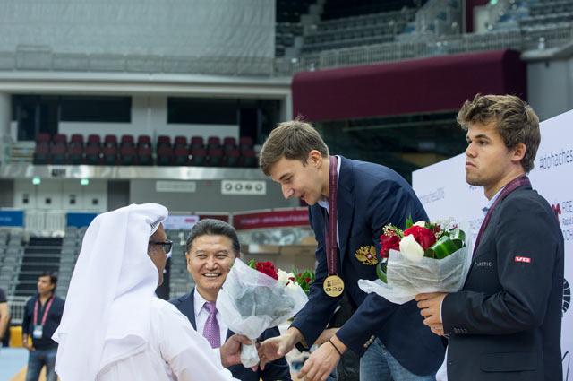 Церемония награждения призёров чемпионата мира по блицу (Доха 2016, Катар)