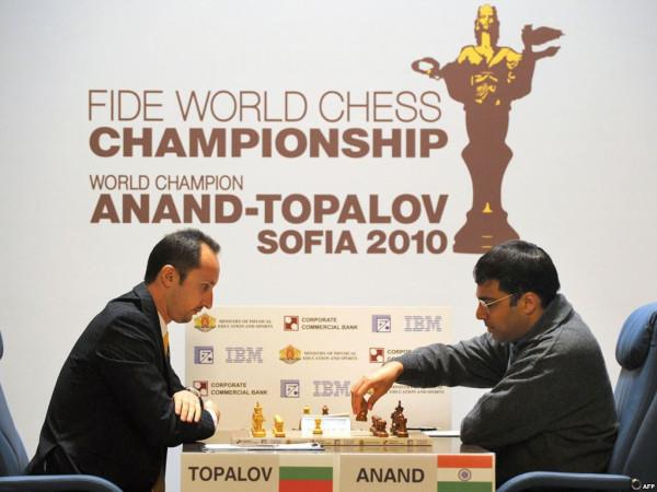 Веселин Топалов и Виши Ананад. Чемпионат мира по шахматам, София, 2010 год