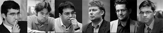 Участники турнира в Цюрихе 2016: Крамник, Накамура, Ананд, Широв, Аронян, Гири