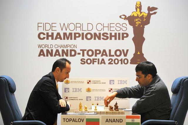 Веселин Топалов и Виши Ананд во время чемпионата мира 2010 года