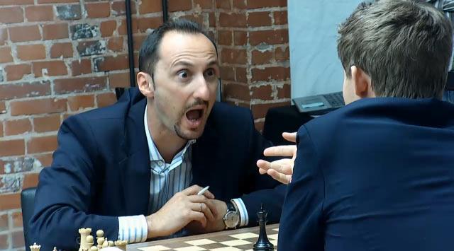 Судя по всему, такое выражение лица возникло у Топалова после того, как Магнус Карлсен сказал об упущенных возможностях в сыгранной партии