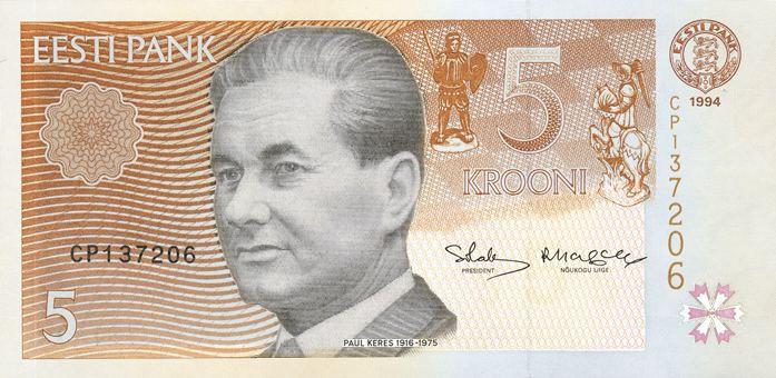 Купюра в 5 крон с изображением Пауля Кереса