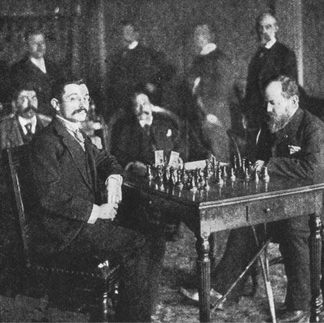 Эмануэль Ласкер и Вильгельм Стейниц во время матча за звание чемпиона мира по шахматам(Монреаль, 1894)