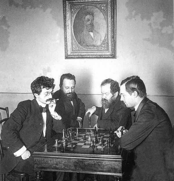 Слева направо: Э. Ласкер, М. Чигорин, В. Стейниц, Г. Пильсбери (во время петербургского шахматного турнира 1895-1896)