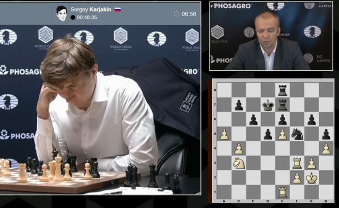 Позиция чёрных не внушает оптимизма. Сможет ли Карякин уйти от поражения?
