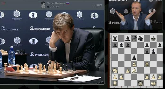 На 15-ом ходу Карслен применил новинку 15.Na3 - такого хода нет в шахматной базе данных (конечно речь идет о партиях сильных шахматистов)